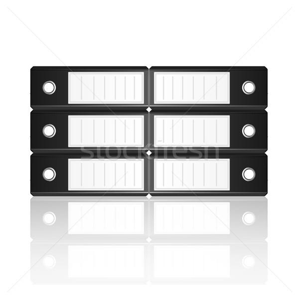 Black binders horizontal isolated on white background Stock photo © punsayaporn