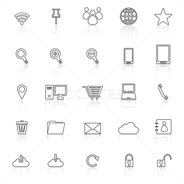 ストックフォト: インターネット · 行 · アイコン · 白 · 在庫 · ベクトル