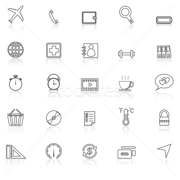 Application line icons with reflect on white.Set 2 Stock photo © punsayaporn