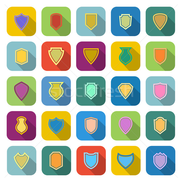 Shield color icons with long shadow Stock photo © punsayaporn