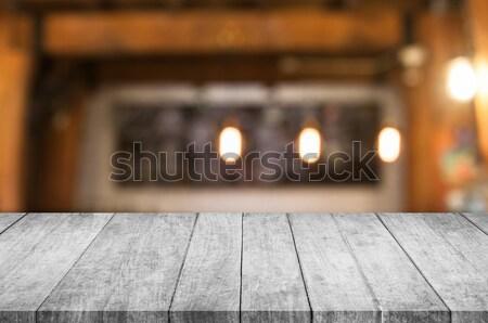 Feketefehér nézőpont fa asztal felső kávéház elmosódott Stock fotó © punsayaporn