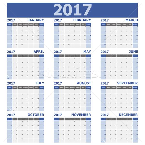 Calendario settimana 12 mesi set stock Foto d'archivio © punsayaporn