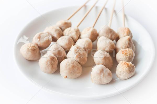 Stock photo: Mini pork balls in white plate on clean table