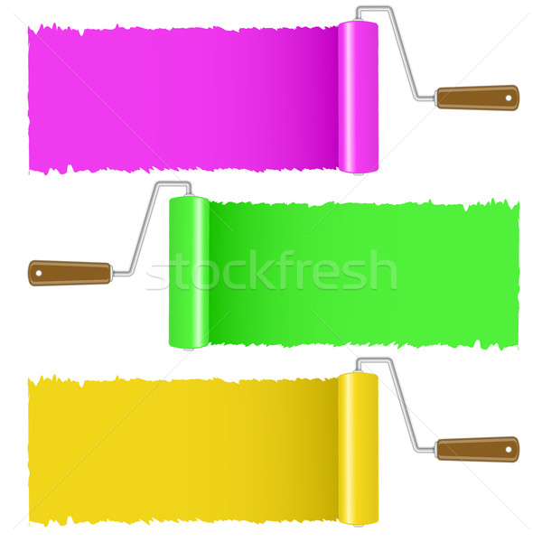 Set of colorful paint roller brush  Stock photo © punsayaporn