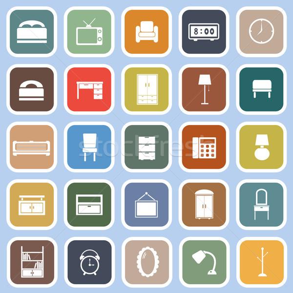 Quarto ícones azul estoque vetor casa Foto stock © punsayaporn