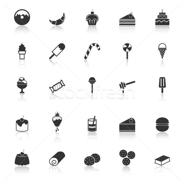 Dessert icons with reflect on white background Stock photo © punsayaporn