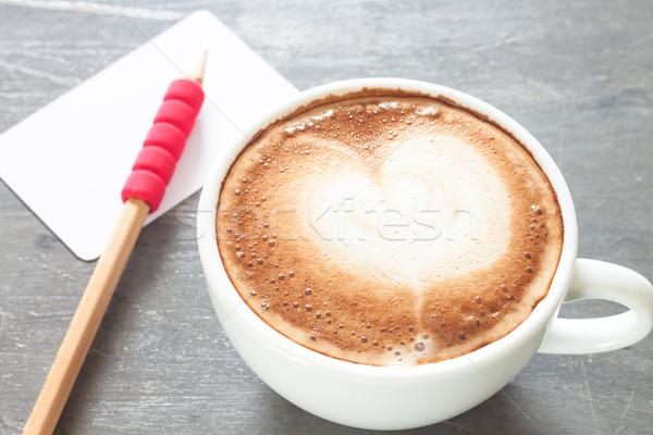 Koffiekopje naam kaart grijs voorraad foto Stockfoto © punsayaporn