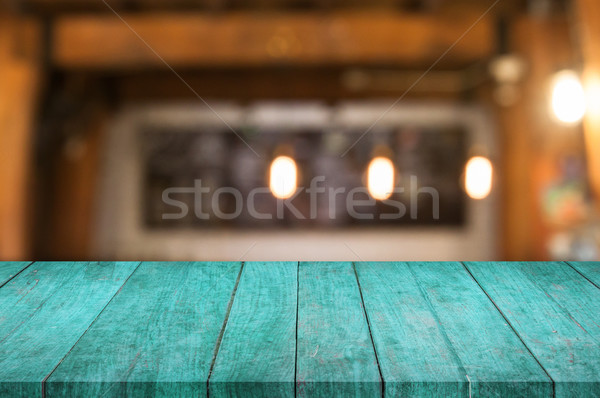 Blue wooden table top with coffee shop Stock photo © punsayaporn