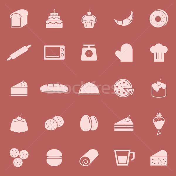 Bakery color icons on red background Stock photo © punsayaporn