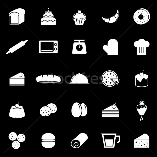 Bakery icons on black background Stock photo © punsayaporn