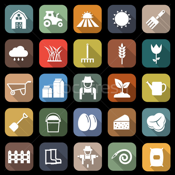 Farming flat icons with long shadow Stock photo © punsayaporn
