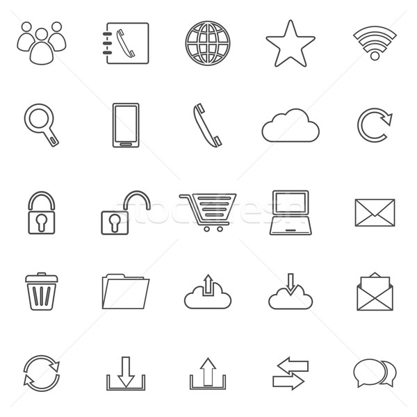 Communication line icons on white background Stock photo © punsayaporn