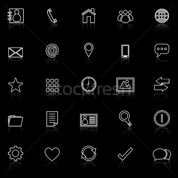 Contact line icons with reflect on black Stock photo © punsayaporn