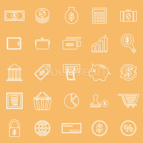 Money line icons on brown background Stock photo © punsayaporn