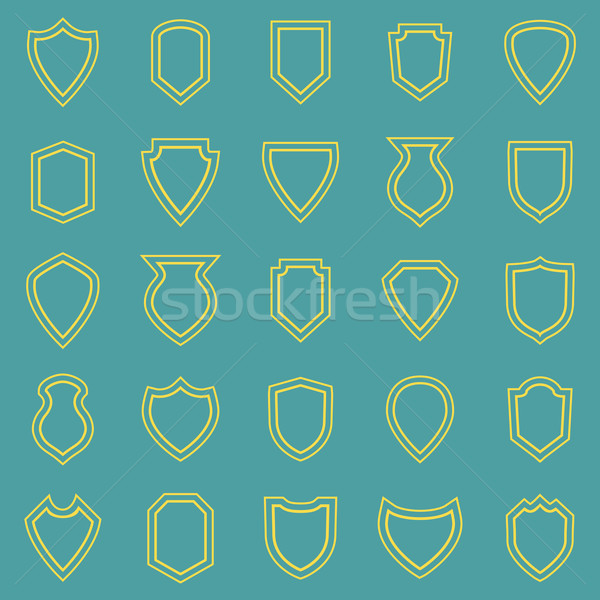 Shield line icons on blue background Stock photo © punsayaporn