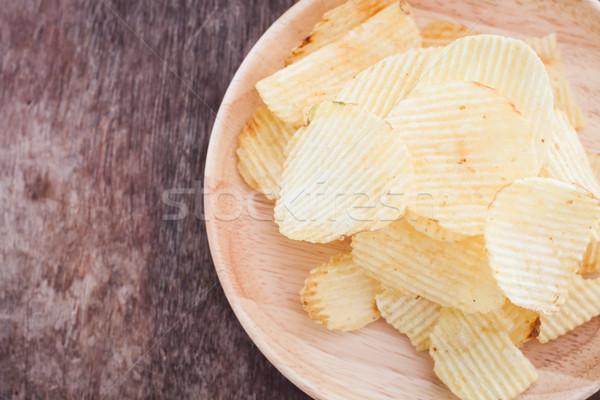Chips houten voorraad foto voedsel Stockfoto © punsayaporn