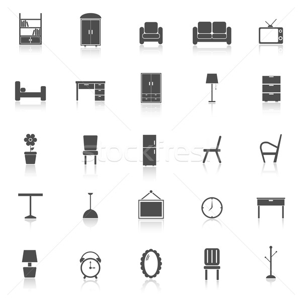 Furniture icons with reflect on white background Stock photo © punsayaporn