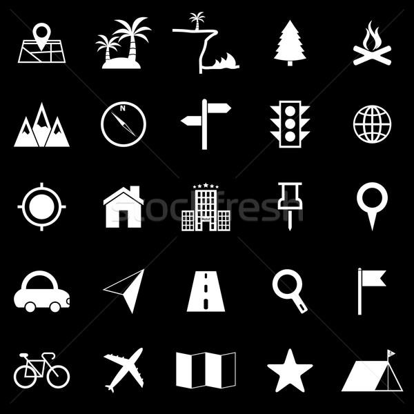Ubicación iconos negro stock vector ordenador Foto stock © punsayaporn