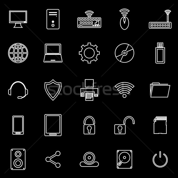 Computer line icons on black background Stock photo © punsayaporn