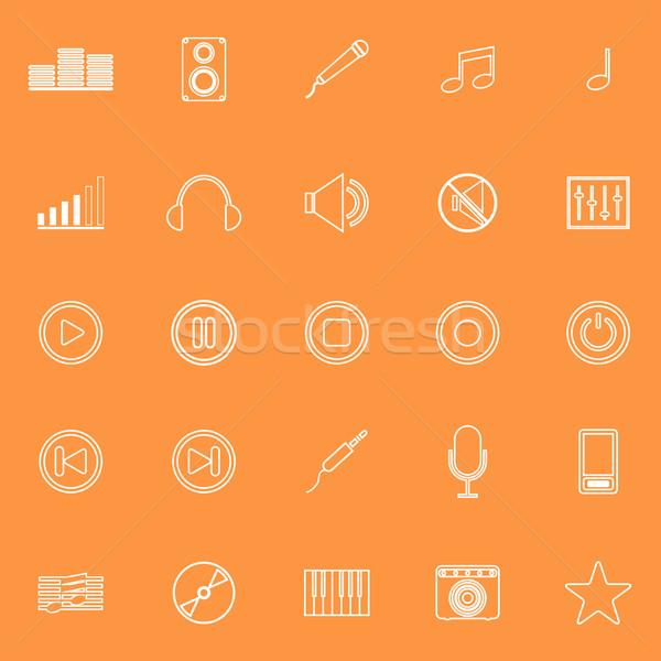 Photo stock: Musique · ligne · icônes · orange · stock · vecteur