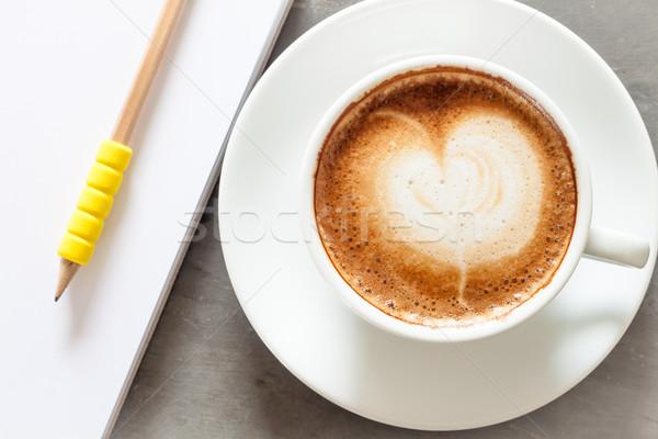Koffiekopje notepad grijs voorraad foto kantoor Stockfoto © punsayaporn