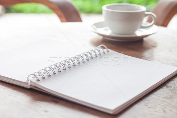 オープン 白 ノートブック カップ コーヒー 在庫 ストックフォト © punsayaporn