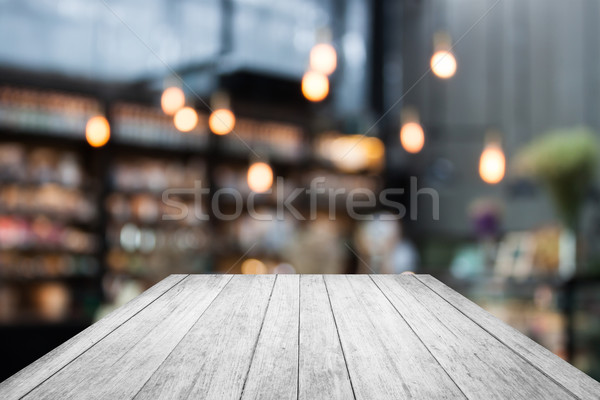Black and white wooden on coffee shop blurred background with bo Stock photo © punsayaporn