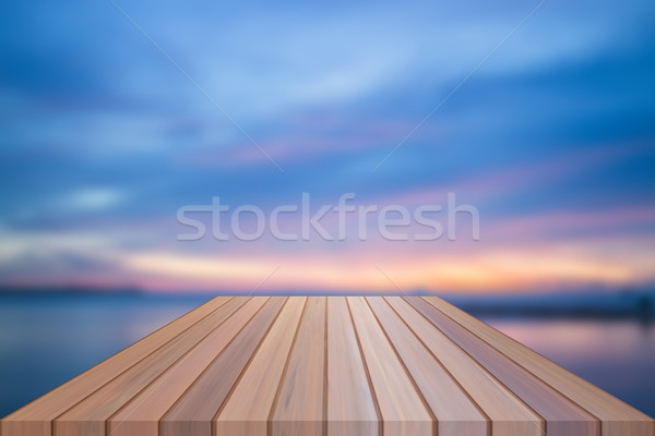Stock photo: Empty table top of wooden table with sunset background