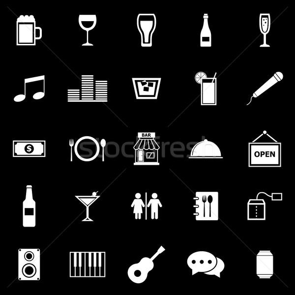ストックフォト: バー · アイコン · 黒 · 在庫 · ベクトル · ワイン