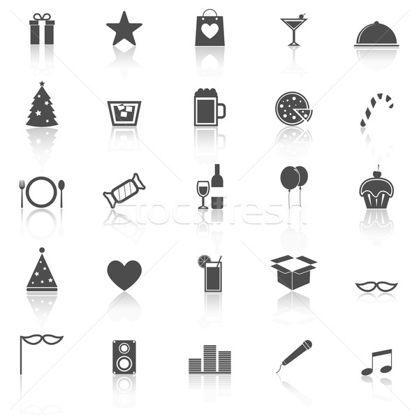 Party icons with reflect on white background Stock photo © punsayaporn