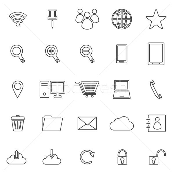 Internet lijn iconen witte voorraad vector Stockfoto © punsayaporn