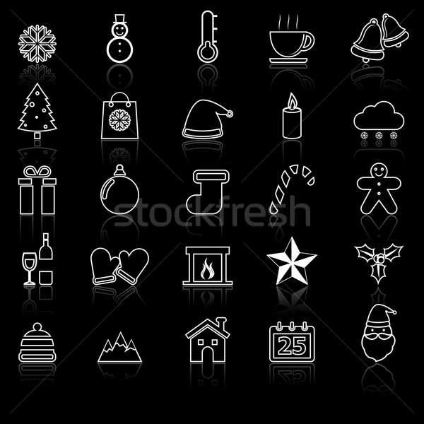 Winter line icons with reflect on black Stock photo © punsayaporn