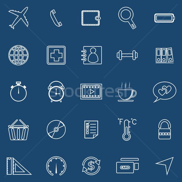 Toepassing lijn iconen Blauw ingesteld voorraad Stockfoto © punsayaporn