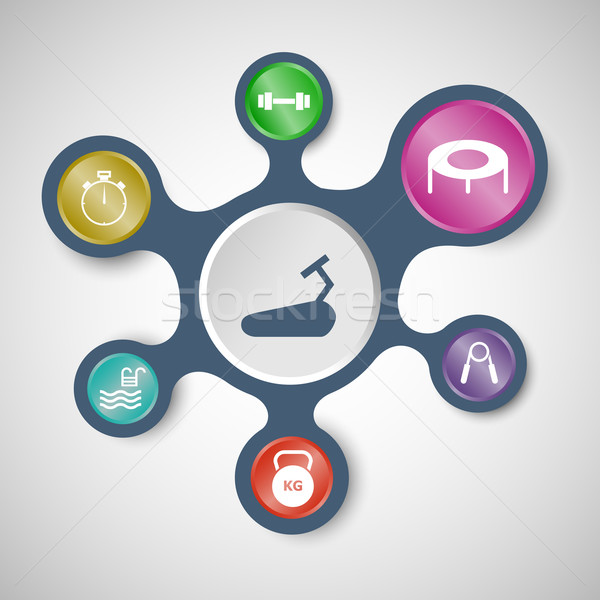 Fitness infographic templates with connected metaballs Stock photo © punsayaporn
