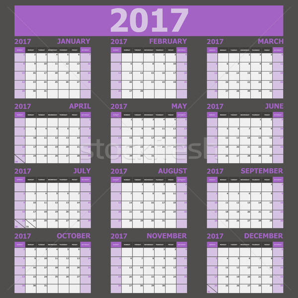 Calendar 2017 week starts on Sunday (purple tone) Stock photo © punsayaporn