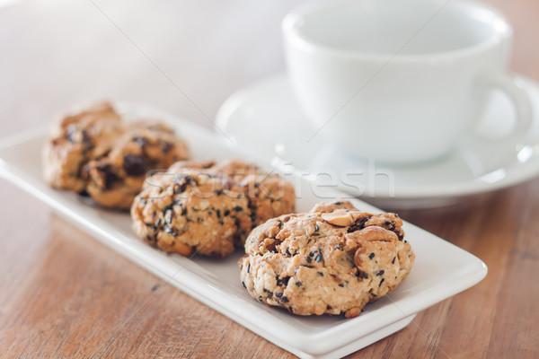 Stockfoto: Granen · cookies · koffiekopje · voorraad · foto