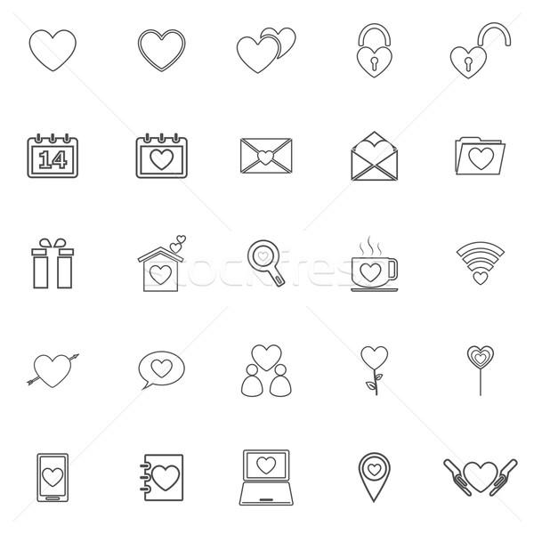 Love line icons on white background Stock photo © punsayaporn