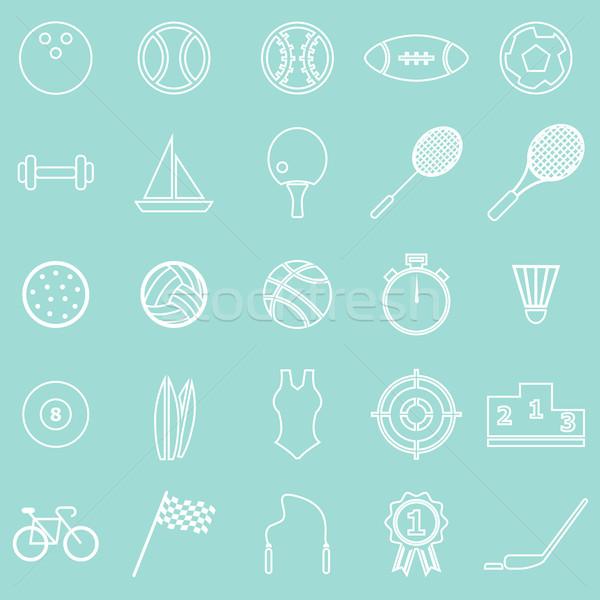 Foto stock: Deporte · línea · iconos · verde · stock · vector