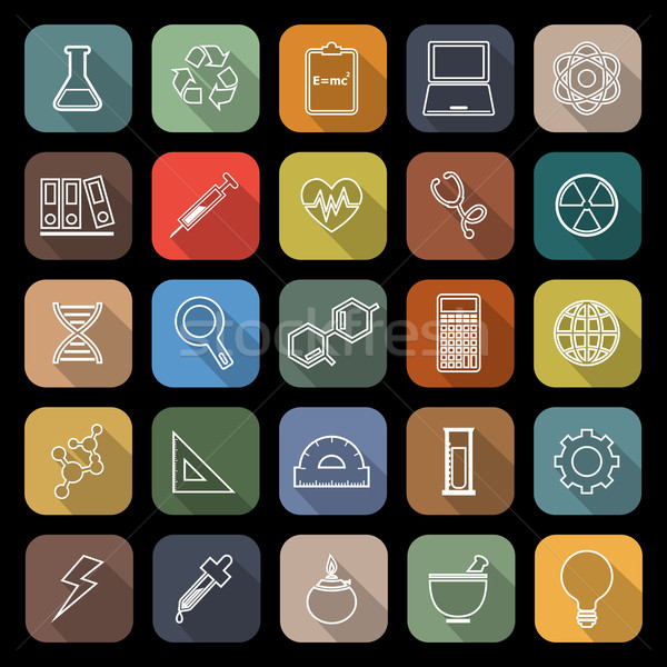 Science line flat icons with long shadow Stock photo © punsayaporn
