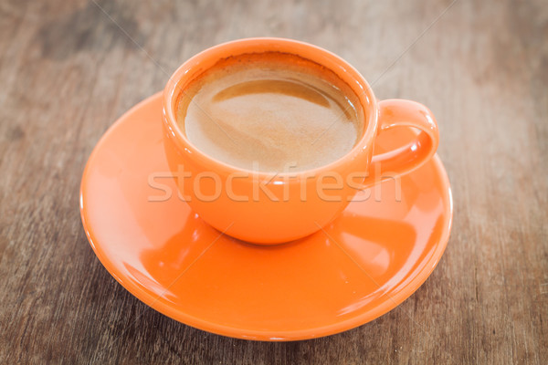 Hot coffee on wooden table Stock photo © punsayaporn