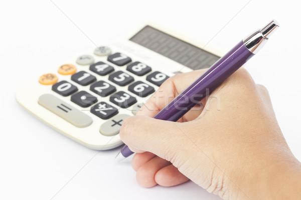 Calculadora mano aislado blanco stock foto Foto stock © punsayaporn