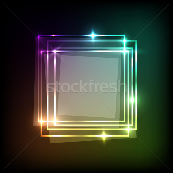 Abstract background with neon colorful squares banner Stock photo © punsayaporn