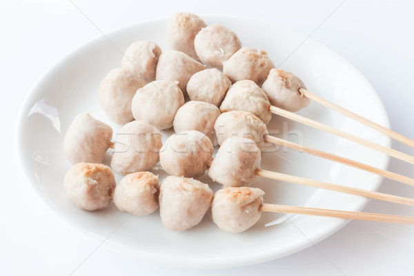 Stock photo: Mini pork balls in white plate on clean table
