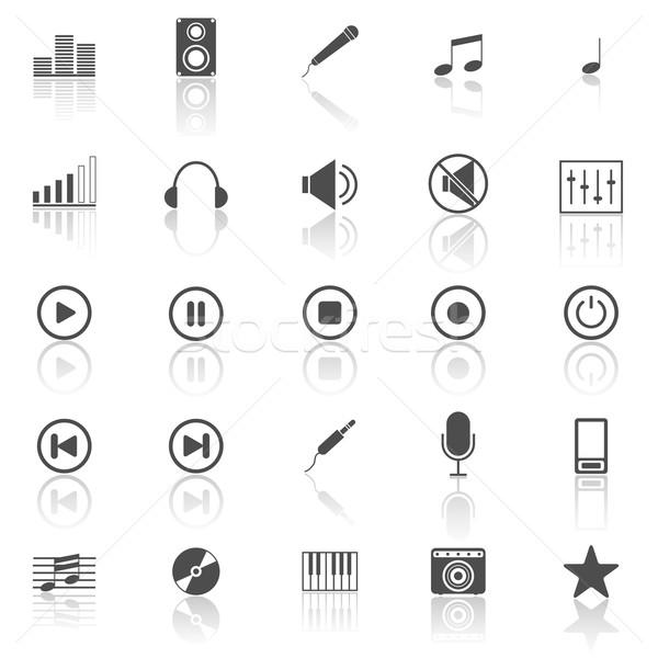 Photo stock: Musique · icônes · blanche · stock · vecteur · piano