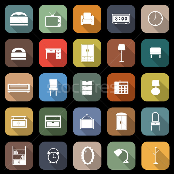 Bedroom flat icons with long shadow Stock photo © punsayaporn