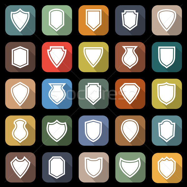 Shield flat icons with long shadow Stock photo © punsayaporn