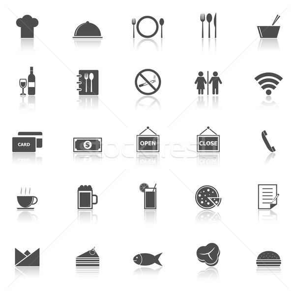 Restaurant icons with reflect on white background Stock photo © punsayaporn