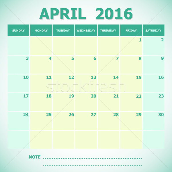 Calendar April 2016 week starts Sunday Stock photo © punsayaporn