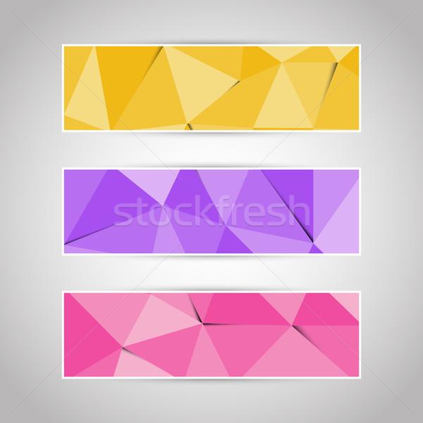 Colorful abstract triangular polygonal banners set Stock photo © punsayaporn