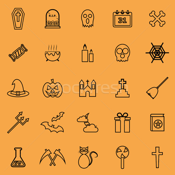 Halloween lijn kleur iconen oranje voorraad Stockfoto © punsayaporn